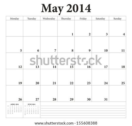 May 2014 -planning calendar. Weeks start on Monday. - stock vector