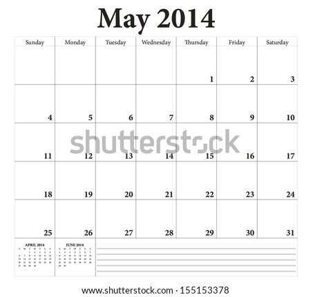 May 2014 -planning calendar. Weeks start on Sunday. - stock vector