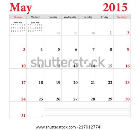 May 2015 -planning calendar. Weeks start on Sunday. - stock vector