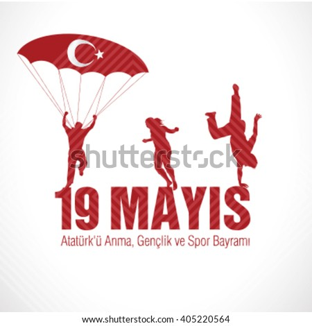 May 19th, Turkish Commemoration of Ataturk, Youth and Sports Day, 19 Mayis - stock vector