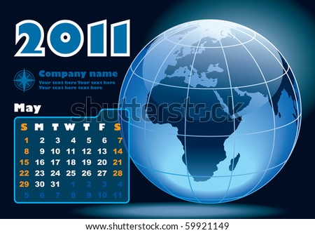 May - the Earth blue calendar for 2011, weeks starts on Sunday - stock vector