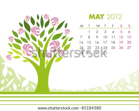 May Tree Calendar 2012. VECTOR