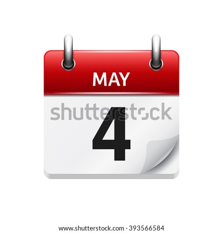 May  4. Vector flat daily calendar icon. Date and time, day, month. Holiday. - stock vector