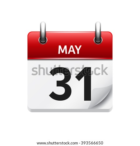 May 31 . Vector flat daily calendar icon. Date and time, day, month. Holiday. - stock vector