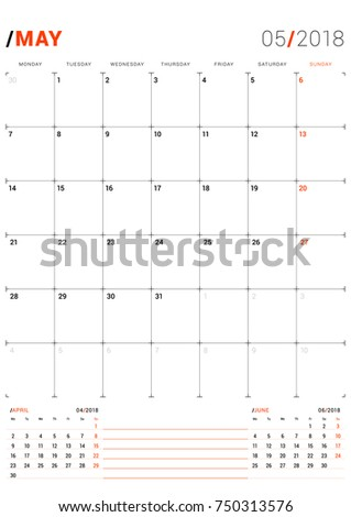 3 Month Calendar Print