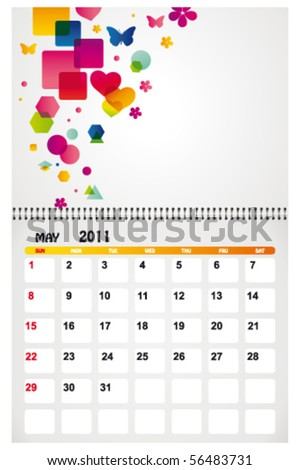may 2011 with background - stock vector