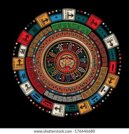 Maya calendar over black background - stock vector