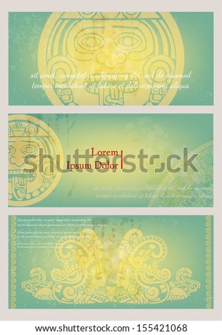 Maya drawings on an old paper; templates for design - stock vector