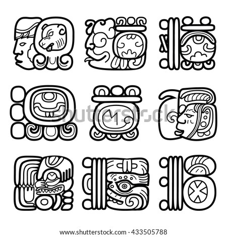 Maya glyphs, Mayan writing system and languge vector design   - stock vector