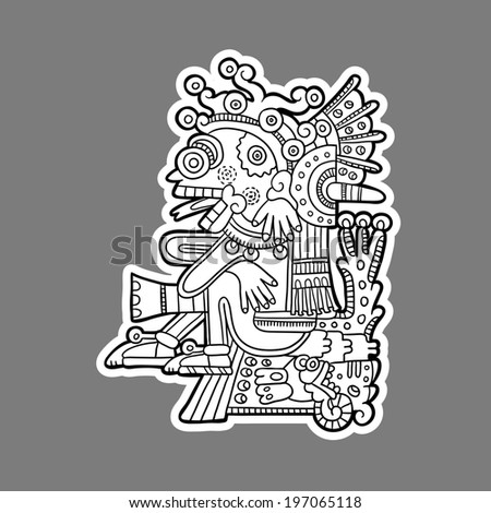 Maya person. Black and white graphic image of the Maya. Maya designs. Maya design elements.  - stock vector