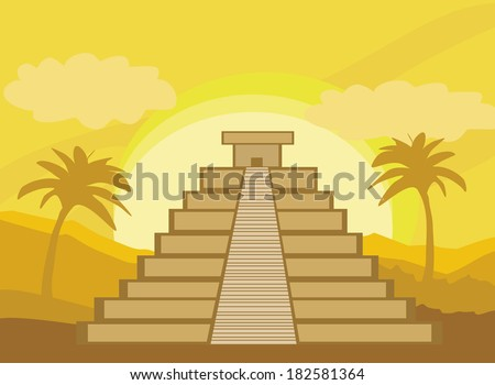 Maya Pyramid, Chichen-Itza, Mexico - vector illustration - stock vector