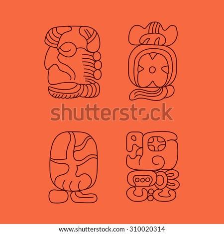 maya religion icon, maya god symbols, Mexican religion icon, Mexican cultural - stock vector