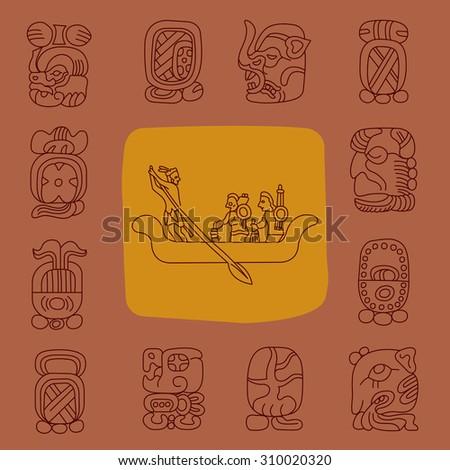 maya religion icon, maya god symbols, Mexican religion icon, Mexican cultural, cacao icon. - stock vector
