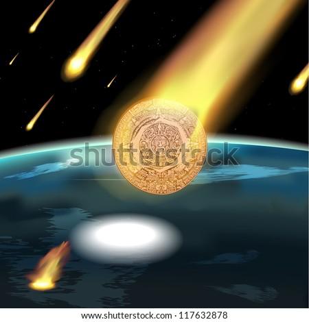 Mayan calendar. Meteoric rain. - stock vector