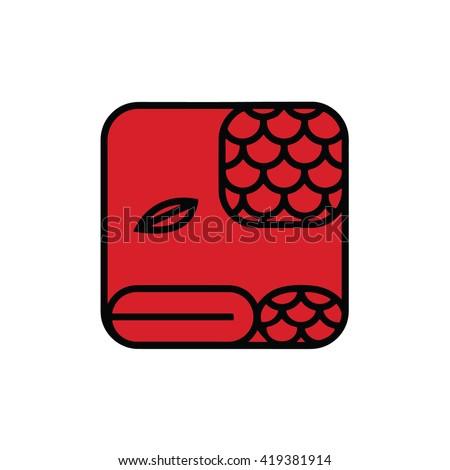 Mayan calendar symbol. Solar seal icon. Solar kin vector illustration. Dreamspell Mayan calendar. Red Overtone Serpent - stock vector