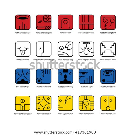 Mayan calendar symbol. Solar seal icon. Solar kin vector illustration. Dreamspell Mayan calendar. The 20 Solar Seals. White background - stock vector
