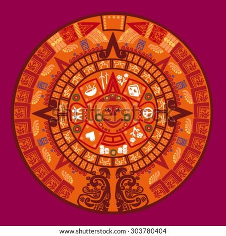 Mayan calendar vector illustration - stock vector
