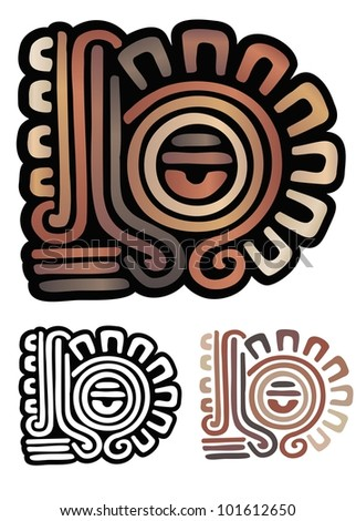 Mayan glyph with an eye and sun rays - stock vector