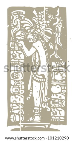 Mayan god in Jaguar skin smokes a pipe in image derived from traditional mayan temple imagery.