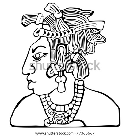 Tribal Chief Drawing Mayan Icon Tribal Chief