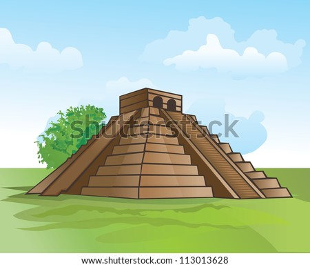 Mayan pyramid, amidst lush greenery and a blue sky, vector illustration - stock vector