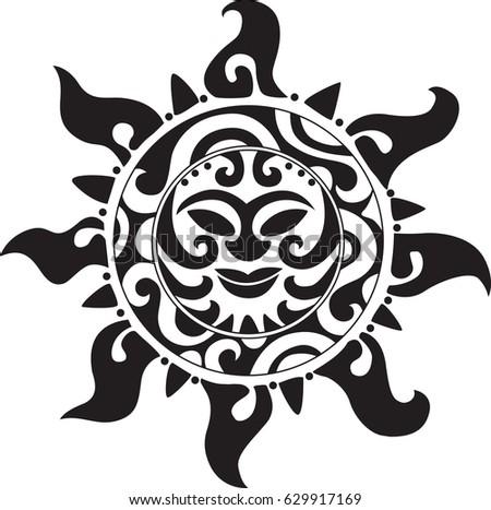 Mayan Sign Sun Tattoo Stock Photo Photo Vector Illustration