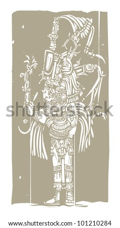 Mayan warrior designed after Mesoamerican Pottery and Temple Images - stock vector
