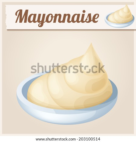 Mayonnaise. Detailed Vector Icon. Series of food and drink and ingredients for cooking. - stock vector