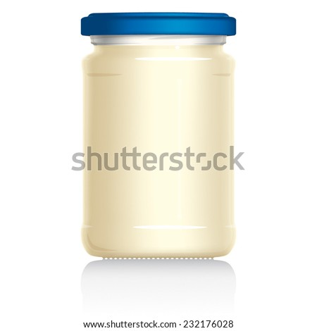 Mayonnaise Jar vector visual illustration, Drawn with mesh tool. Fully adjustable & scalable. - stock vector