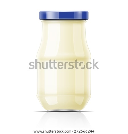 Mayonnnaise in glass jar with blue lid. Vector illustration. Packaging collection. - stock vector