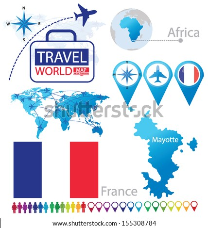 Mayotte map. France. flag. World Map. Travel vector Illustration. - stock vector