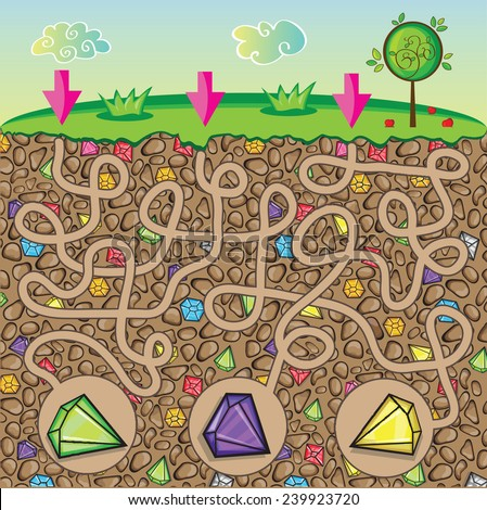 Maze for children - nature, stones and precious stones under the ground - get the path to the diamond - stock vector