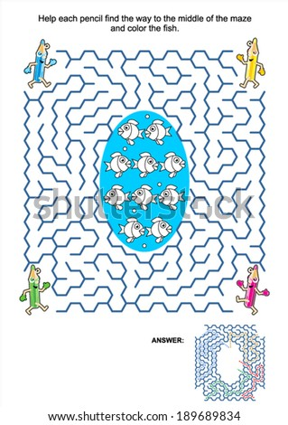 Maze game and coloring activity page for kids: Help each pencil find the way to the middle of the maze and color the fish. Answer included.  - stock vector