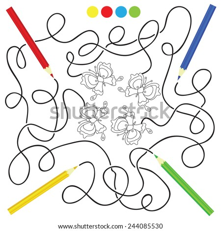 maze game and coloring activity page for kids: Help the pencils to get to the picture - stock vector