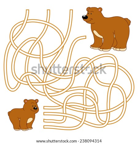 Maze game (bears) - stock vector
