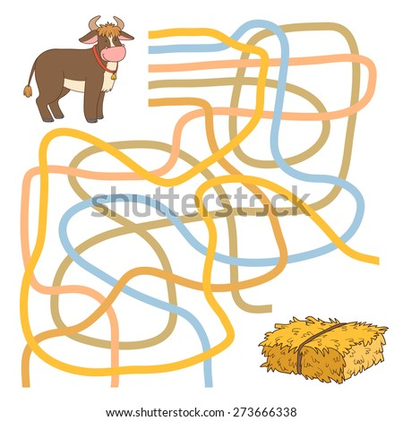 Maze game (Bull and hay) - stock vector