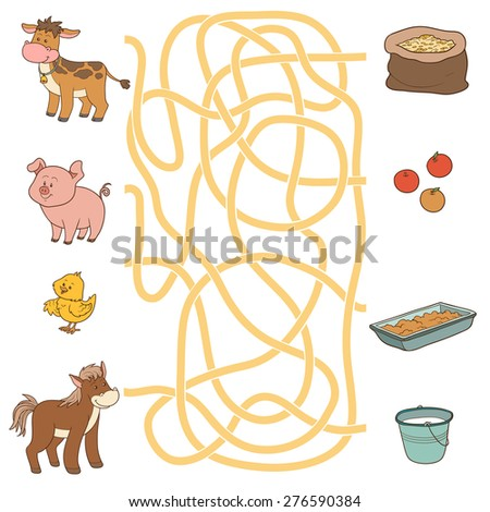 Maze game (farm animals and food) - stock vector