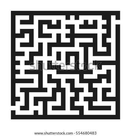 maze game children black linear labyrinth stock vector 554680483