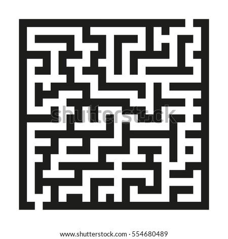maze game children black linear labyrinth stock vector 554680489