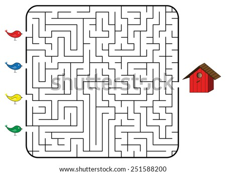 Maze game for children. Find the correct way for bird to birdhouse. Only one way is correct. Vector illustration. - stock vector
