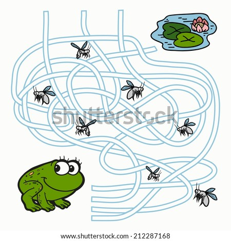 Maze Game for children (frog) - stock vector