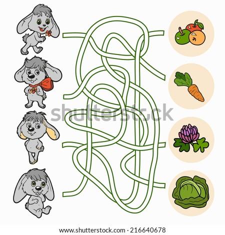 Maze game for children (rabbits) - stock vector
