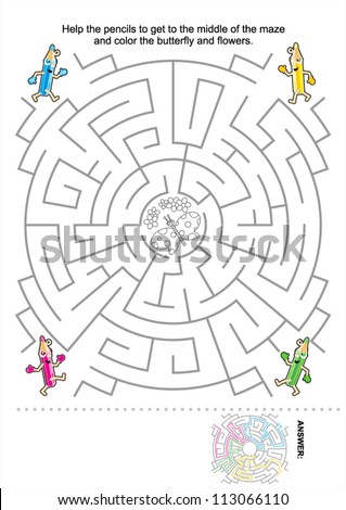 Maze game for kids: Help the pencils to get to the middle of the maze and color the butterfly and flowers. Answer included. For high res JPEG or TIFF see image 113066107  - stock vector