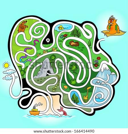 maze game for little kids - stock vector