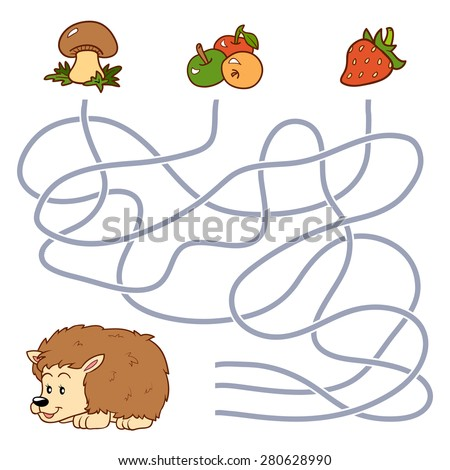 Maze game (hedgehog and food) - stock vector