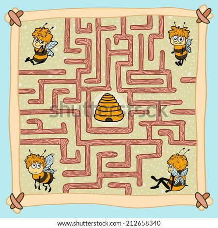 Maze game: Help one of the bees find their way home - stock vector