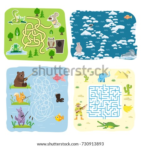 Maze Game Kids Brain Training Education Stock Vector HD (Royalty ...