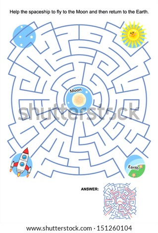 Maze game or activity page for kids: Help the spaceship to fly to the Moon and then return to the Earth. Answer included. For high res JPEG or TIFF see image 151260113 - stock vector