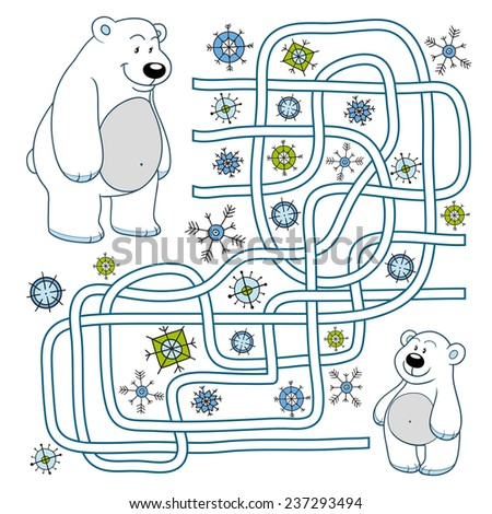 Maze game (polar bears) - stock vector
