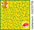 Maze game puzzle with solution on separate layer (Help young lion find his meal) - stock vector